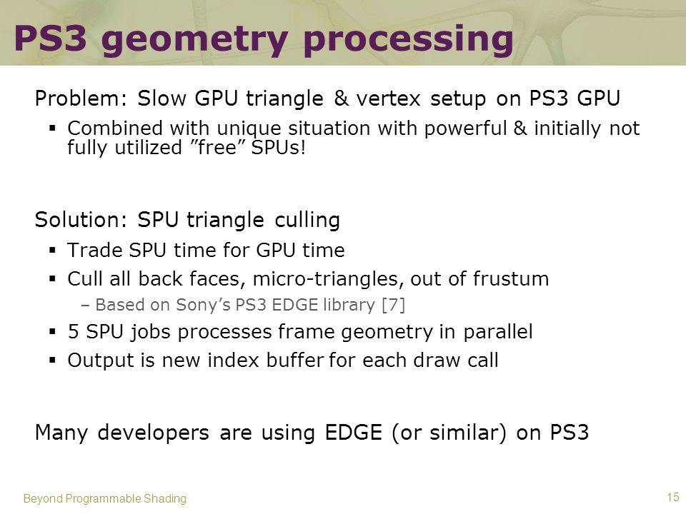 PS3 geometry processing