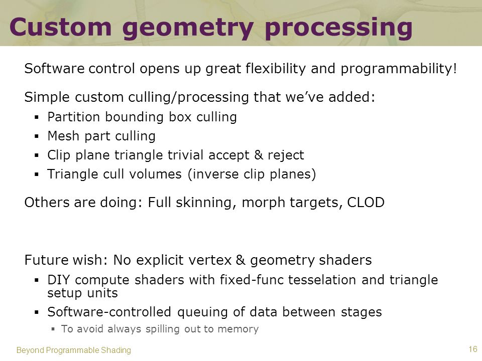 Custom geometry processing