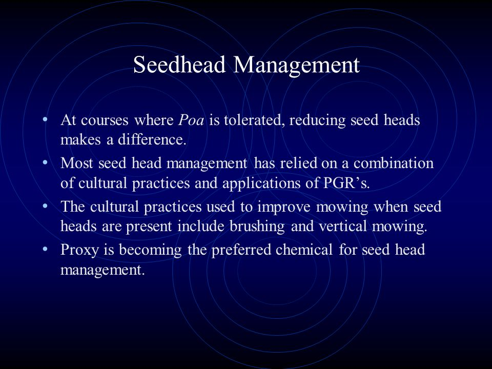 Seedhead Management At courses where Poa is tolerated, reducing seed heads makes a difference.