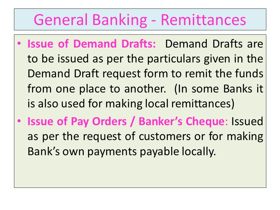 General Banking - Remittances