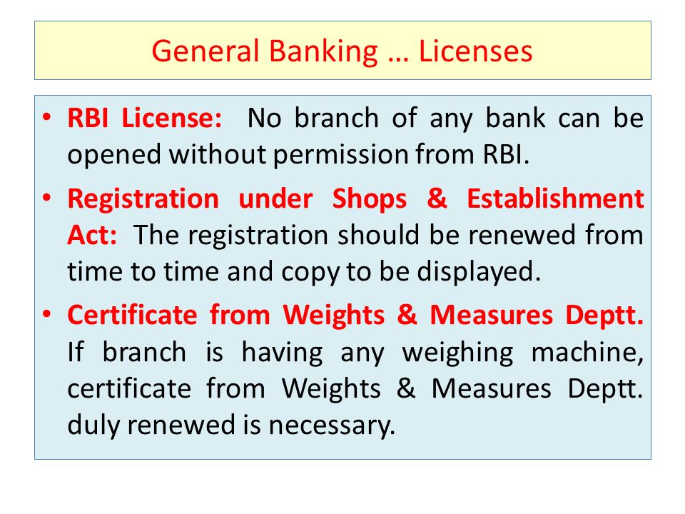 General Banking … Licenses