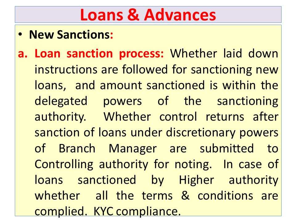 Loans & Advances New Sanctions: