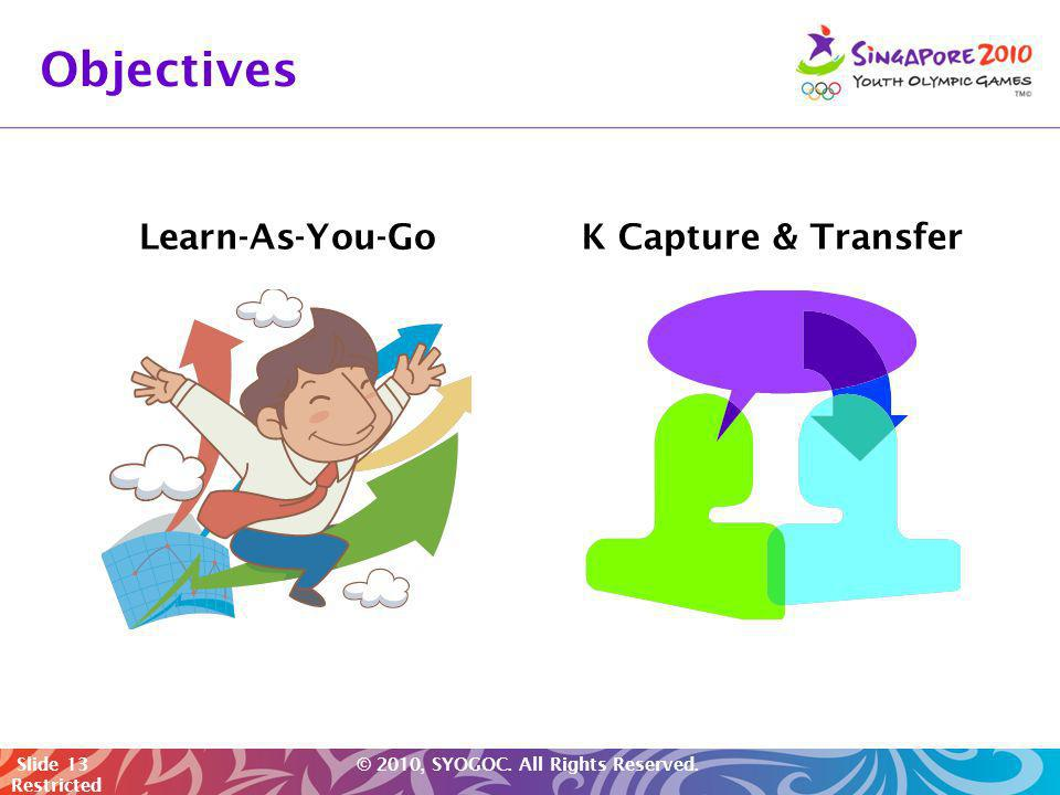 Objectives Learn-As-You-Go K Capture & Transfer