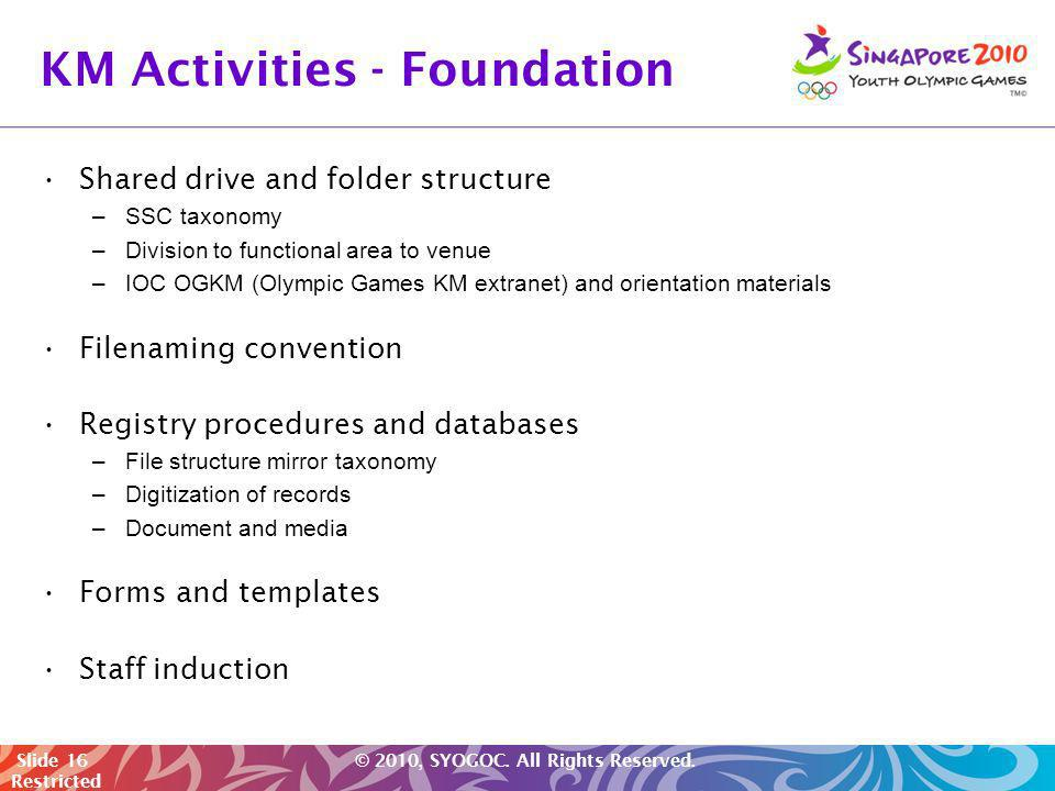 KM Activities - Foundation