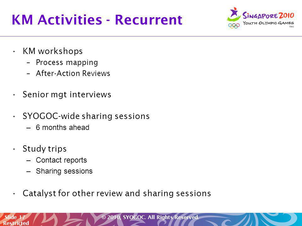 KM Activities - Recurrent