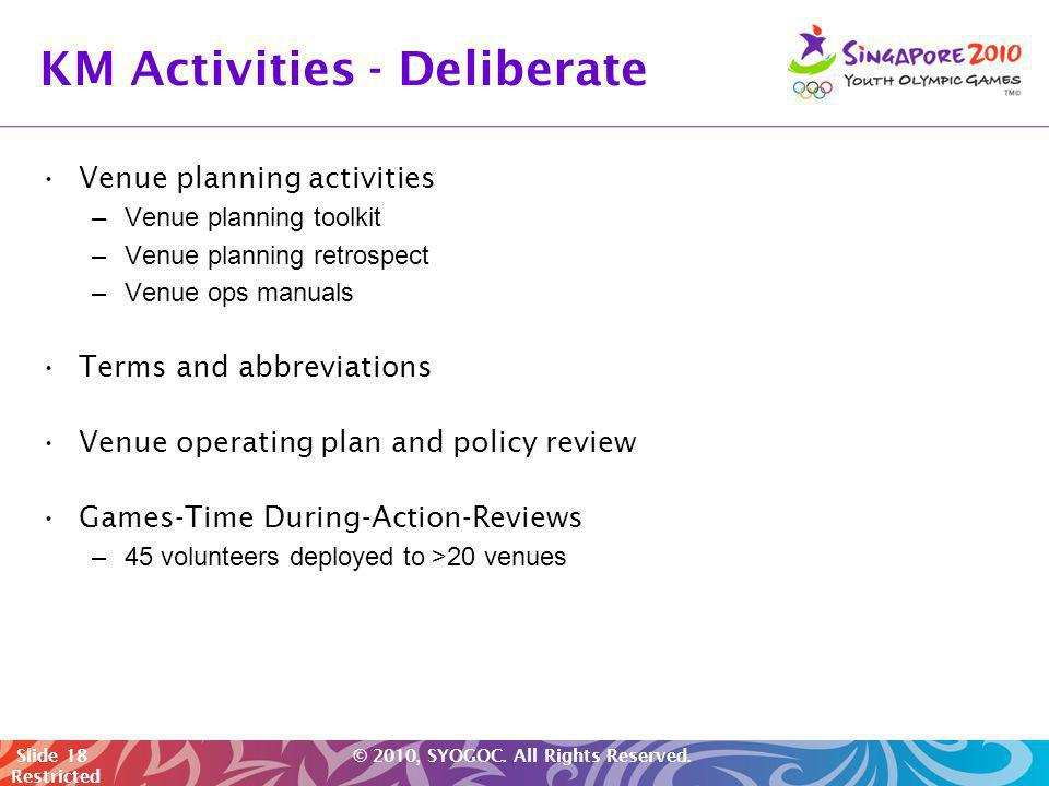 KM Activities - Deliberate