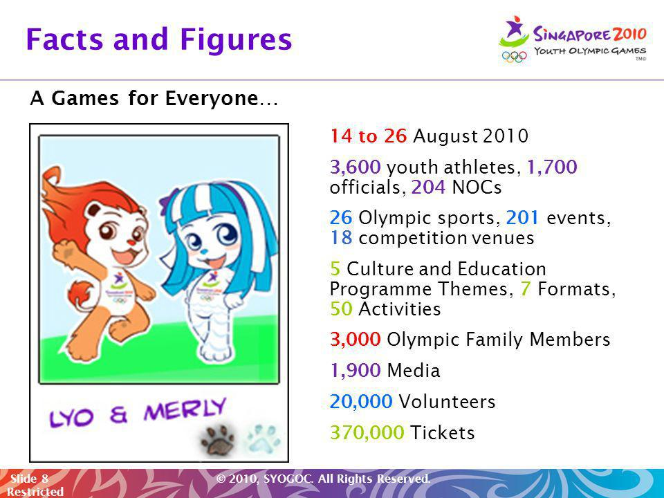 Facts and Figures A Games for Everyone… 14 to 26 August 2010