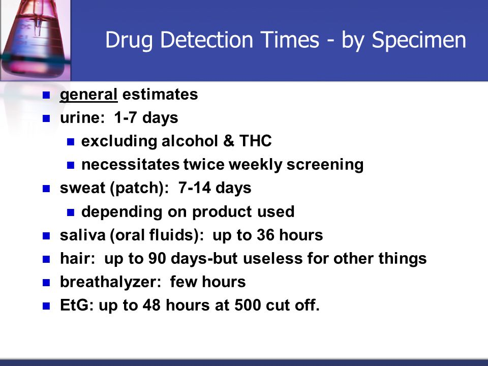 Drug Detection Times - by Specimen