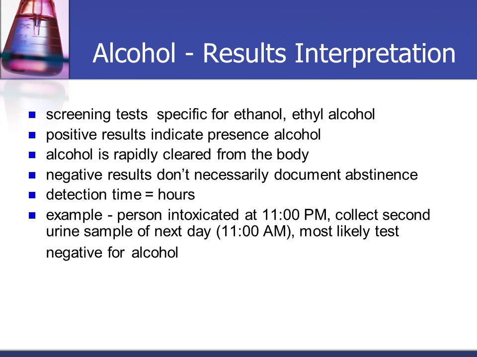 Alcohol - Results Interpretation
