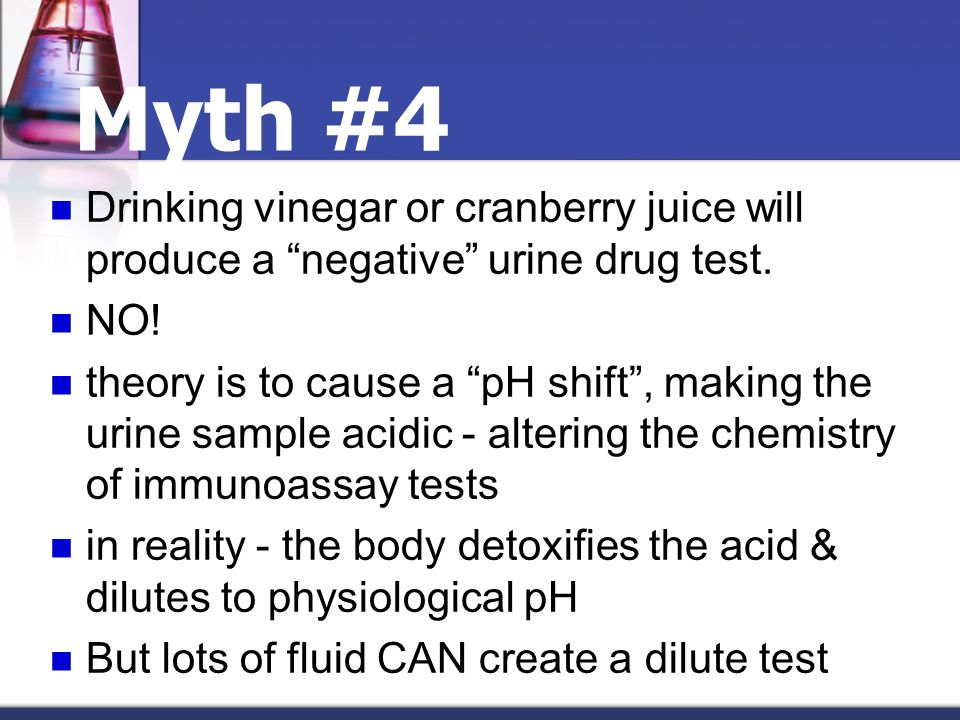 Myth #4 Drinking vinegar or cranberry juice will produce a negative urine drug test. NO!