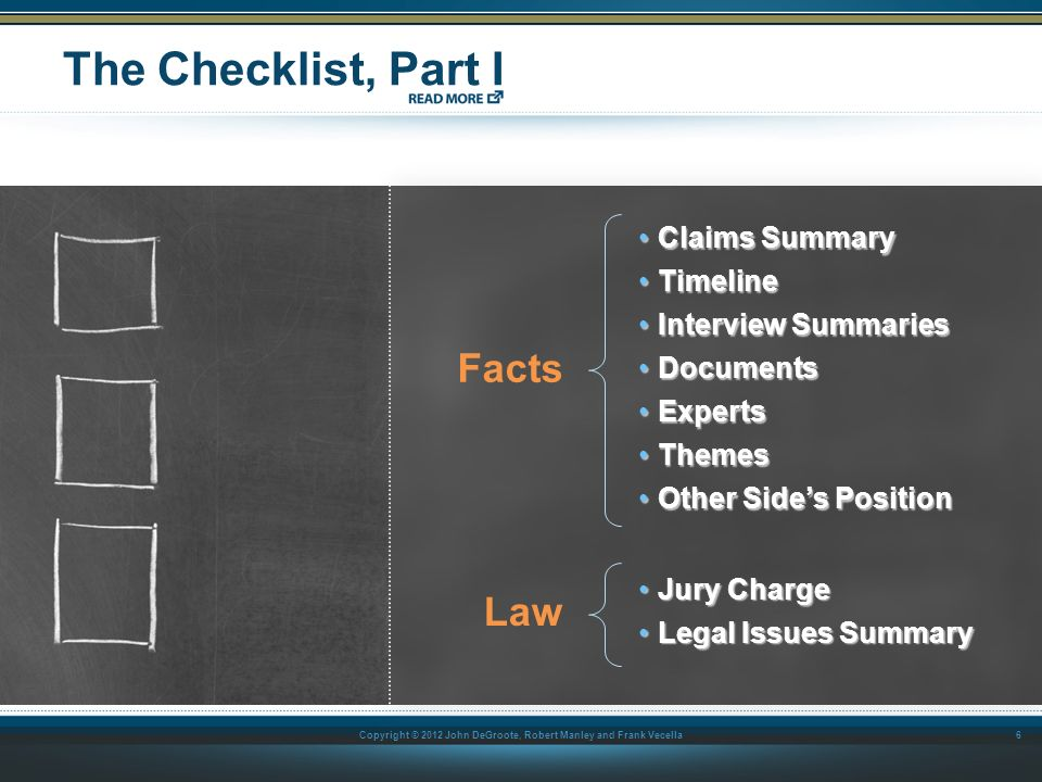 The Checklist, Part I Facts Law Claims Summary Timeline