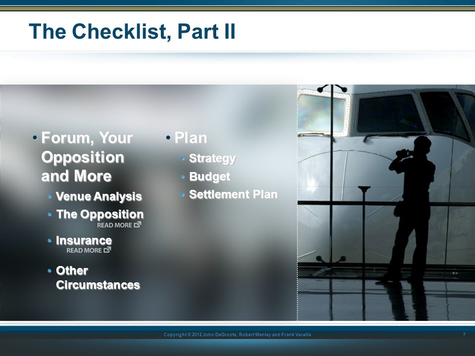 The Checklist, Part II Forum, Your Opposition and More Plan Strategy