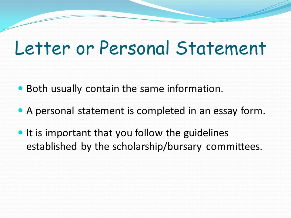 Letter or Personal Statement