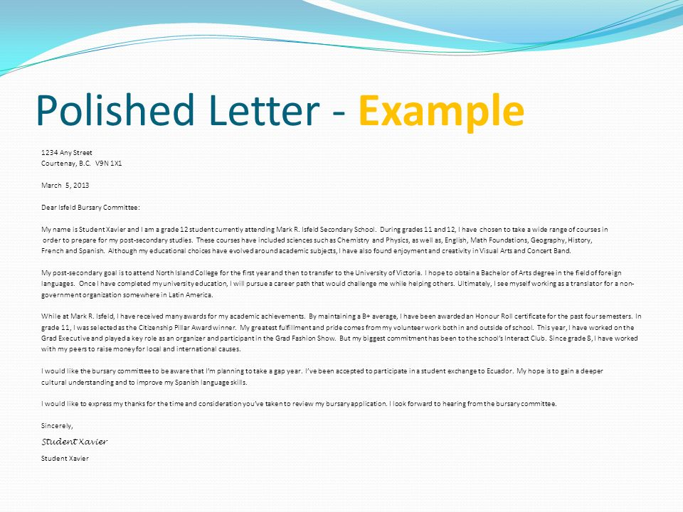 Polished Letter - Example