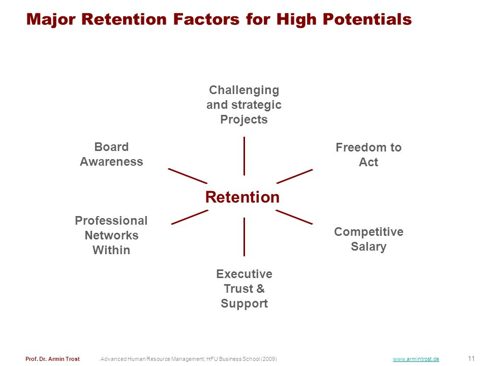 Major Retention Factors for High Potentials