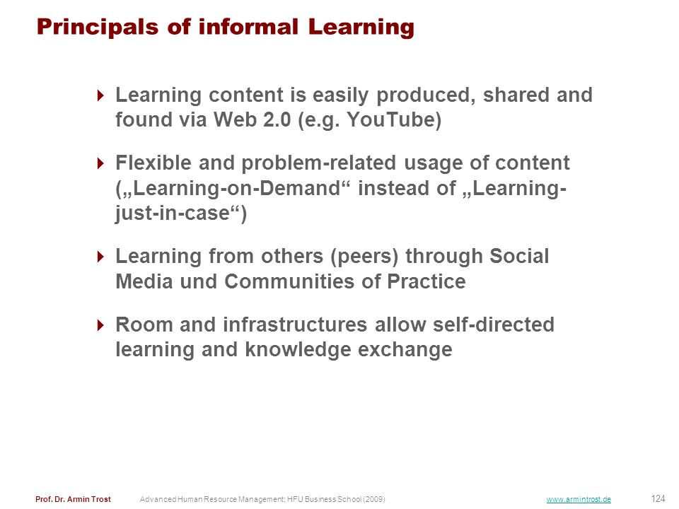 Principals of informal Learning