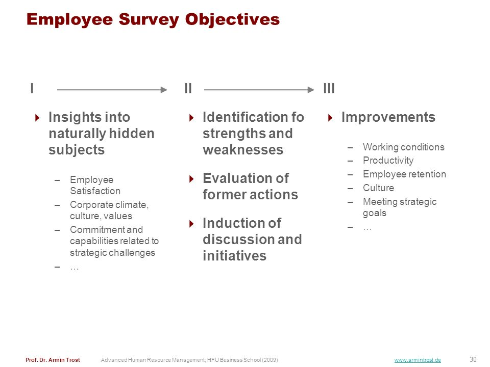 Employee Survey Objectives