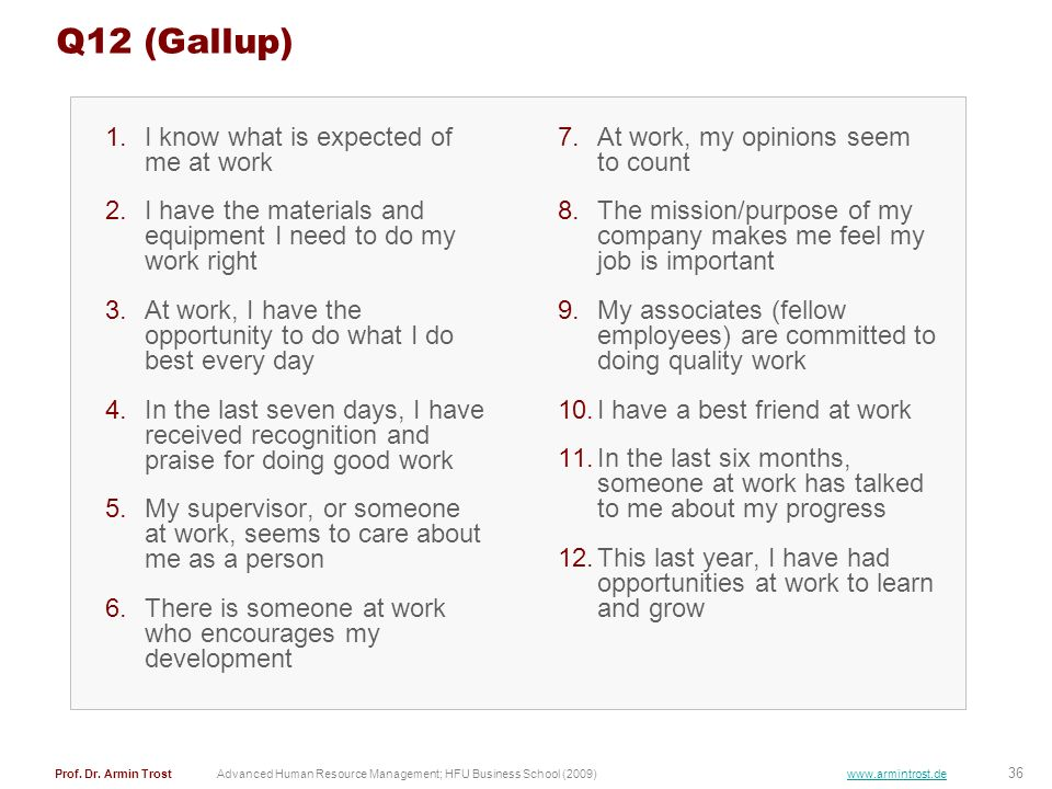 Q12 (Gallup) I know what is expected of me at work
