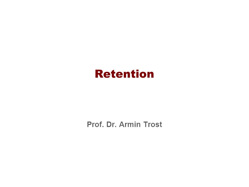 Retention Prof. Dr. Armin Trost