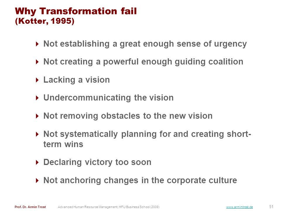 Why Transformation fail (Kotter, 1995)