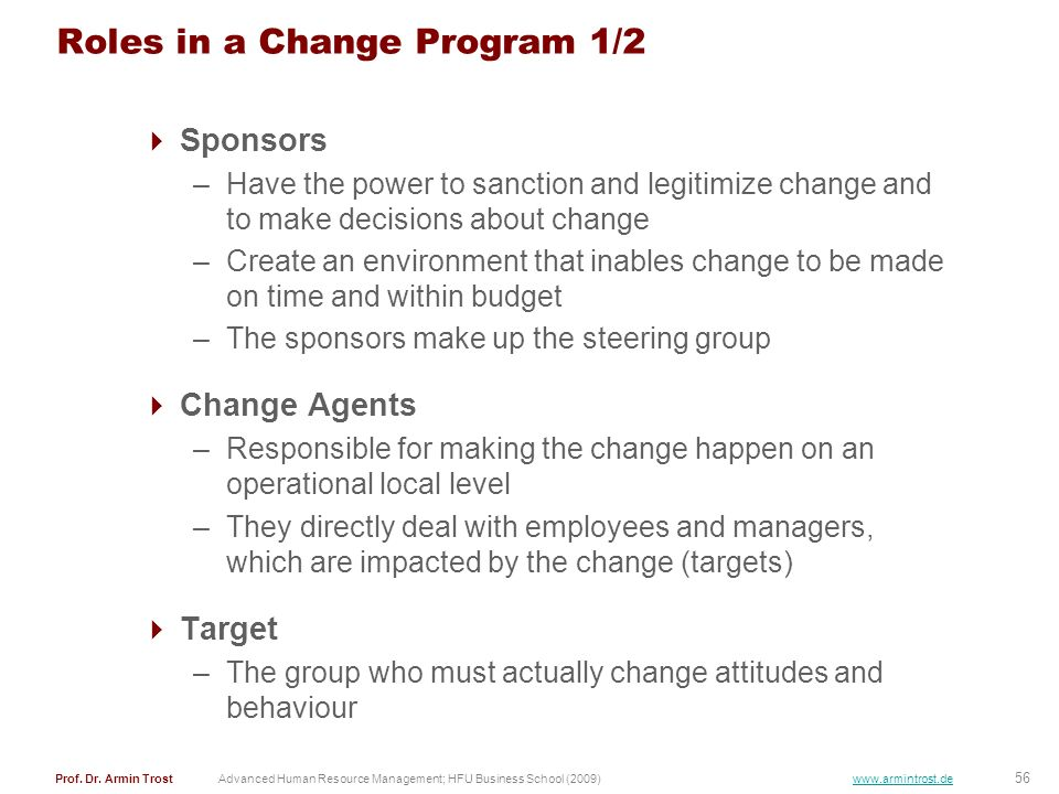 Roles in a Change Program 1/2