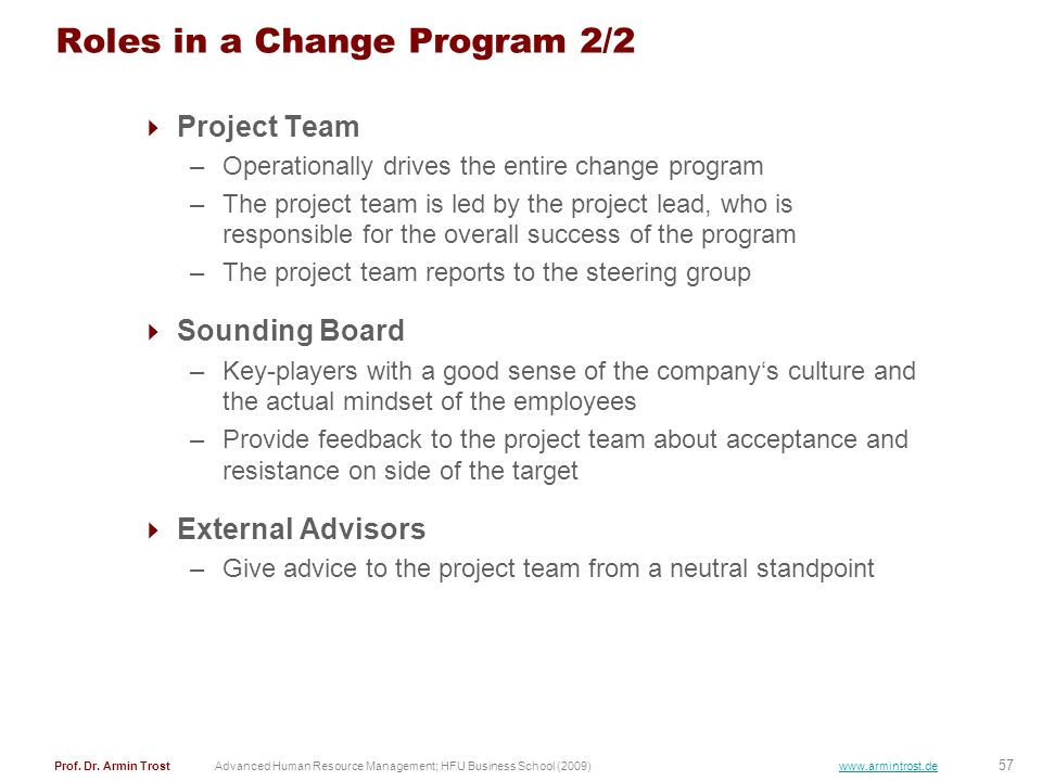 Roles in a Change Program 2/2