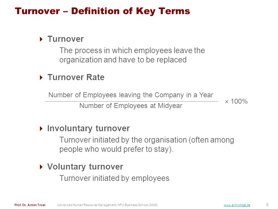 Turnover – Definition of Key Terms