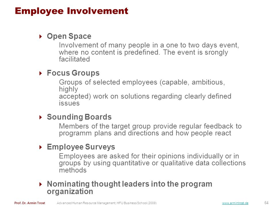 Employee Involvement Open Space Focus Groups Sounding Boards