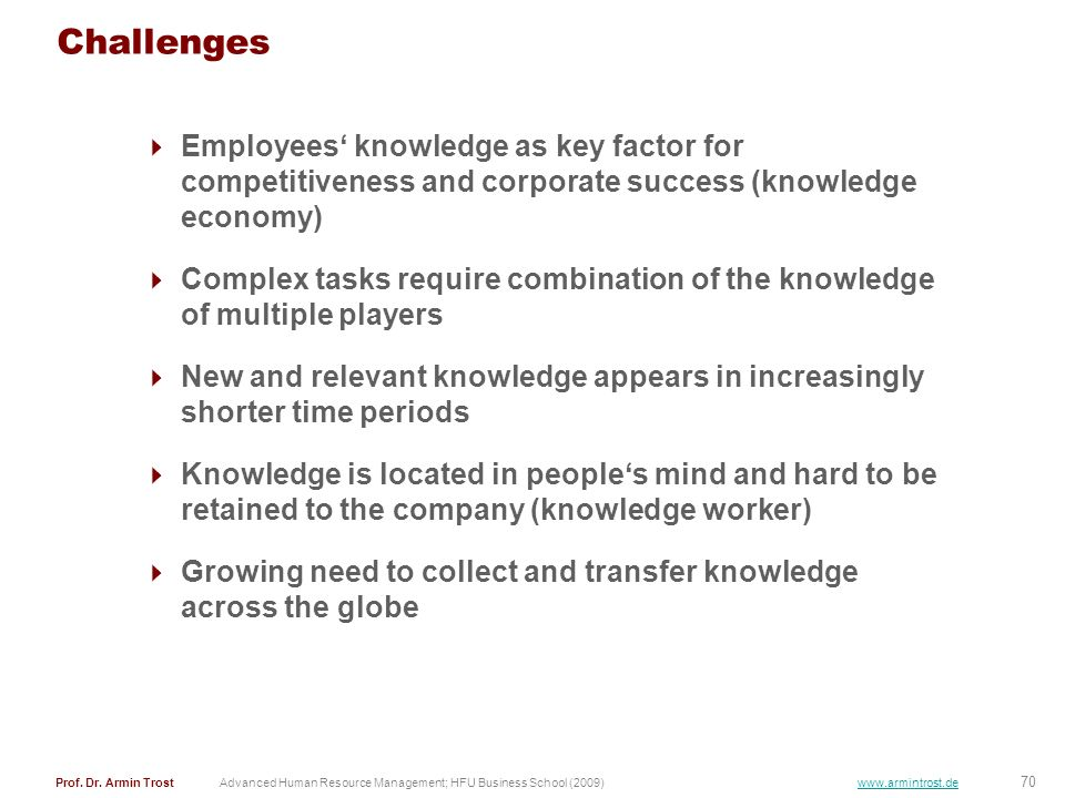Challenges Employees' knowledge as key factor for competitiveness and corporate success (knowledge economy)