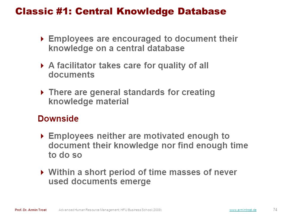 Classic #1: Central Knowledge Database