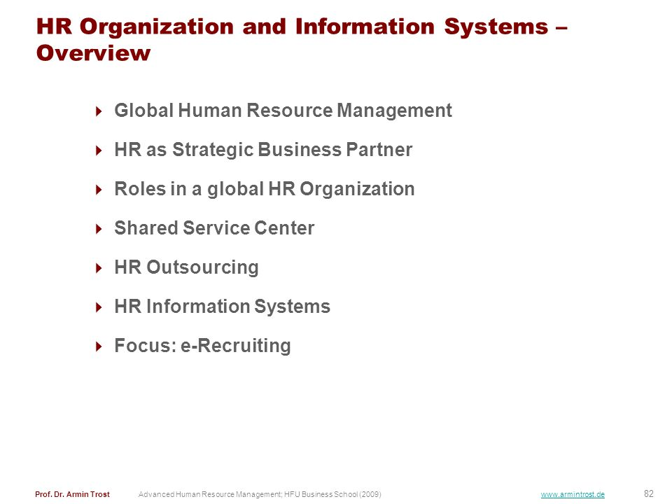 HR Organization and Information Systems – Overview