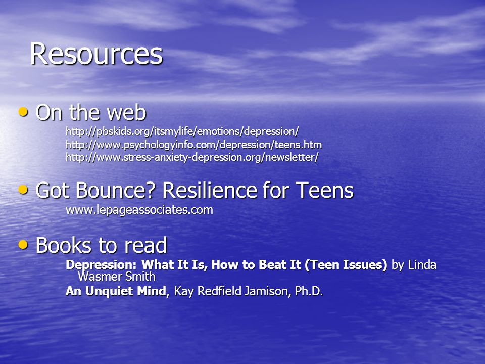 Resources On the web Got Bounce Resilience for Teens Books to read