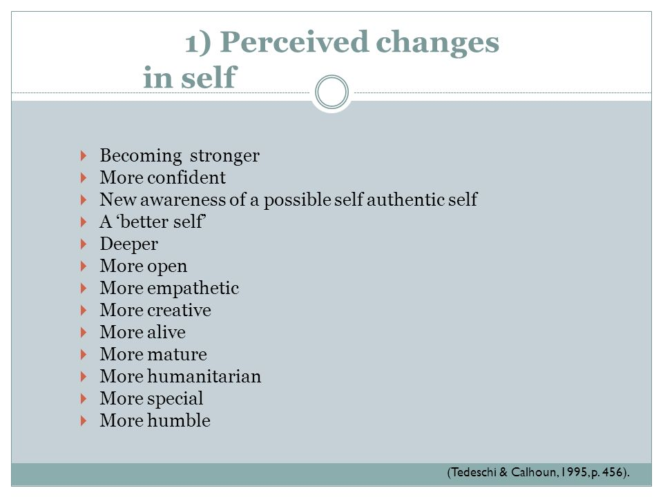 1) Perceived changes in self