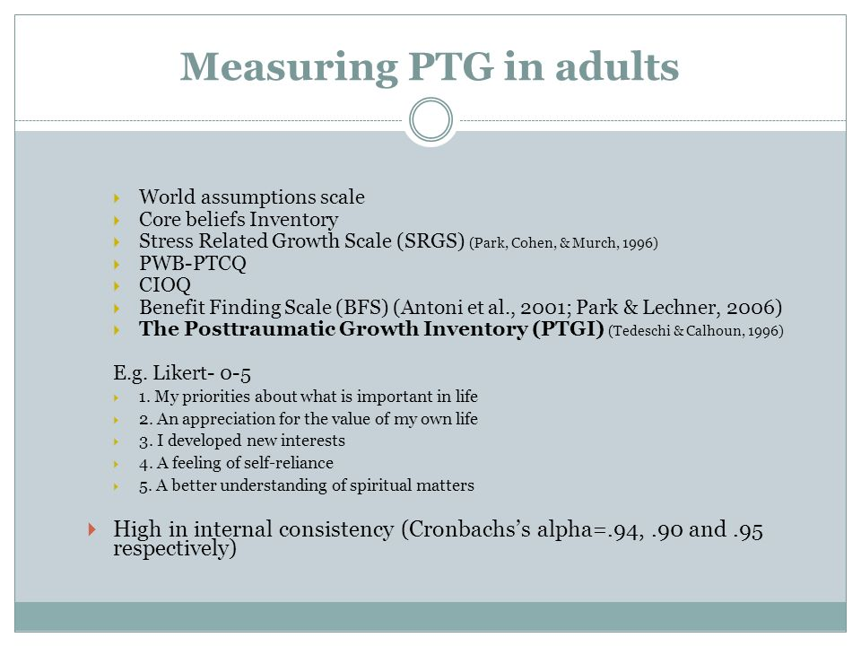 Measuring PTG in adults