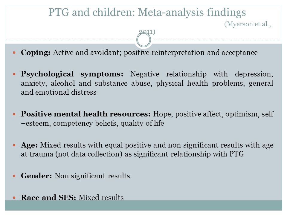 PTG and children: Meta-analysis findings (Myerson et al., 2011)