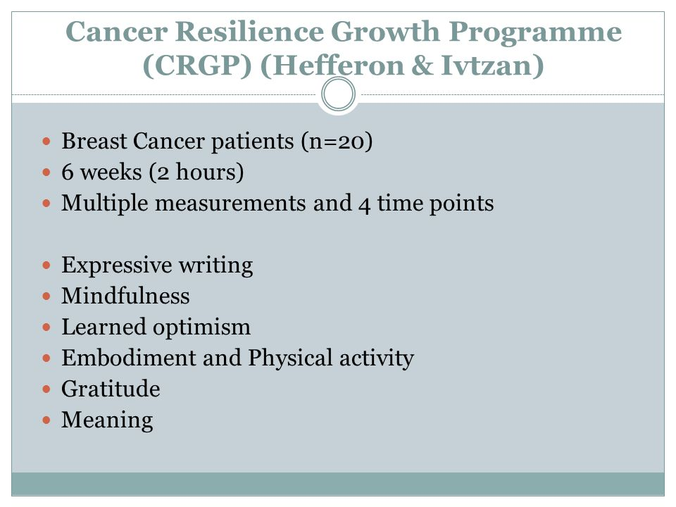 Cancer Resilience Growth Programme (CRGP) (Hefferon & Ivtzan)