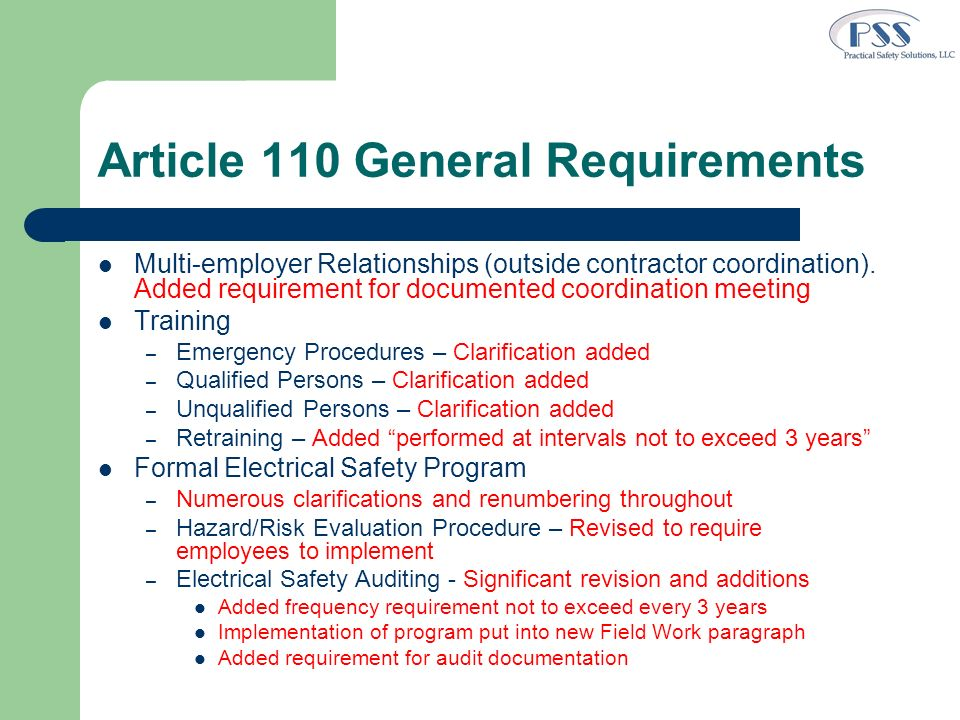 Article 110 General Requirements