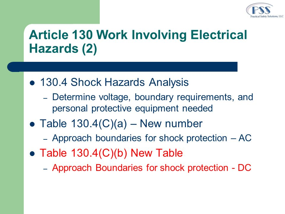 Article 130 Work Involving Electrical Hazards (2)