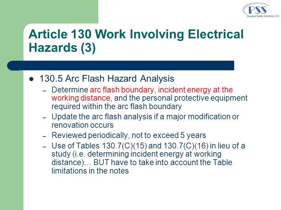 Article 130 Work Involving Electrical Hazards (3)