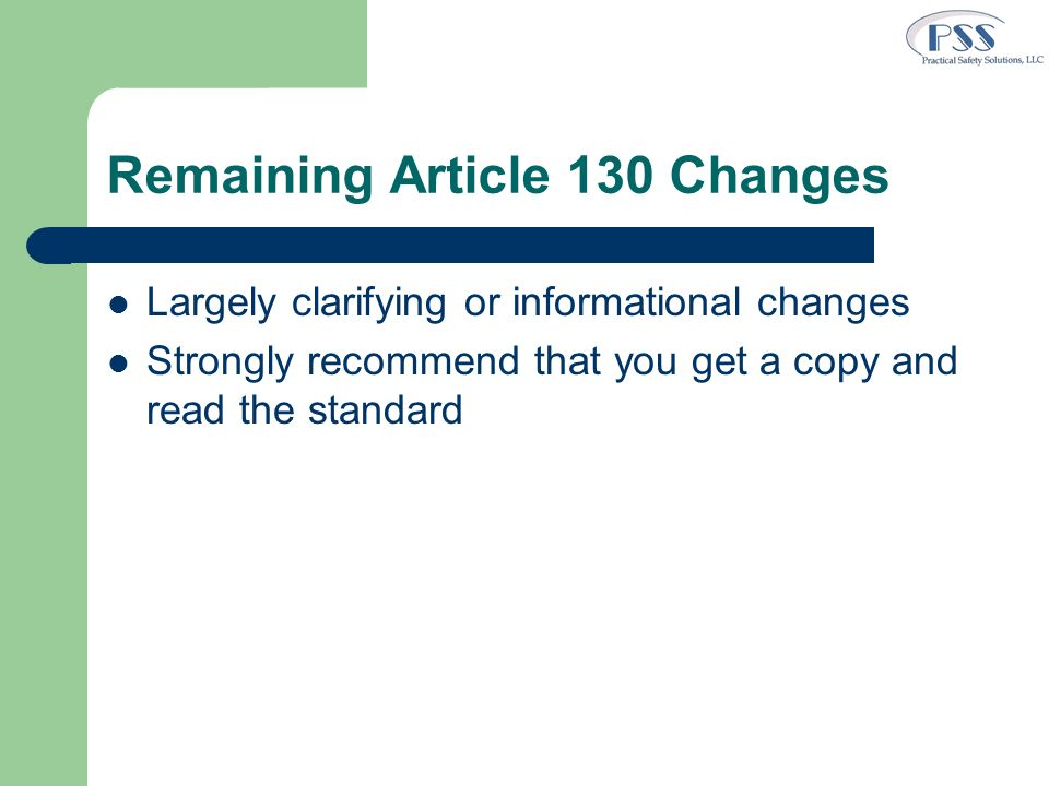 Remaining Article 130 Changes