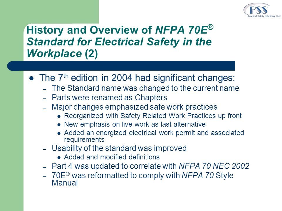 History and Overview of NFPA 70E® Standard for Electrical Safety in the Workplace (2)