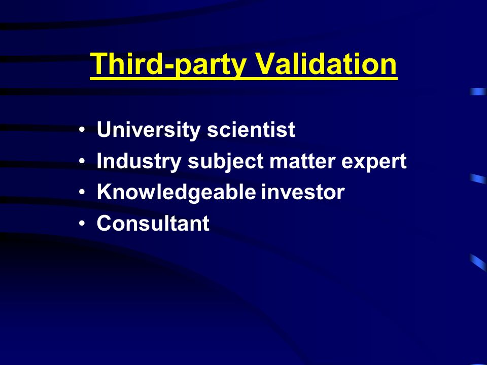 Third-party Validation