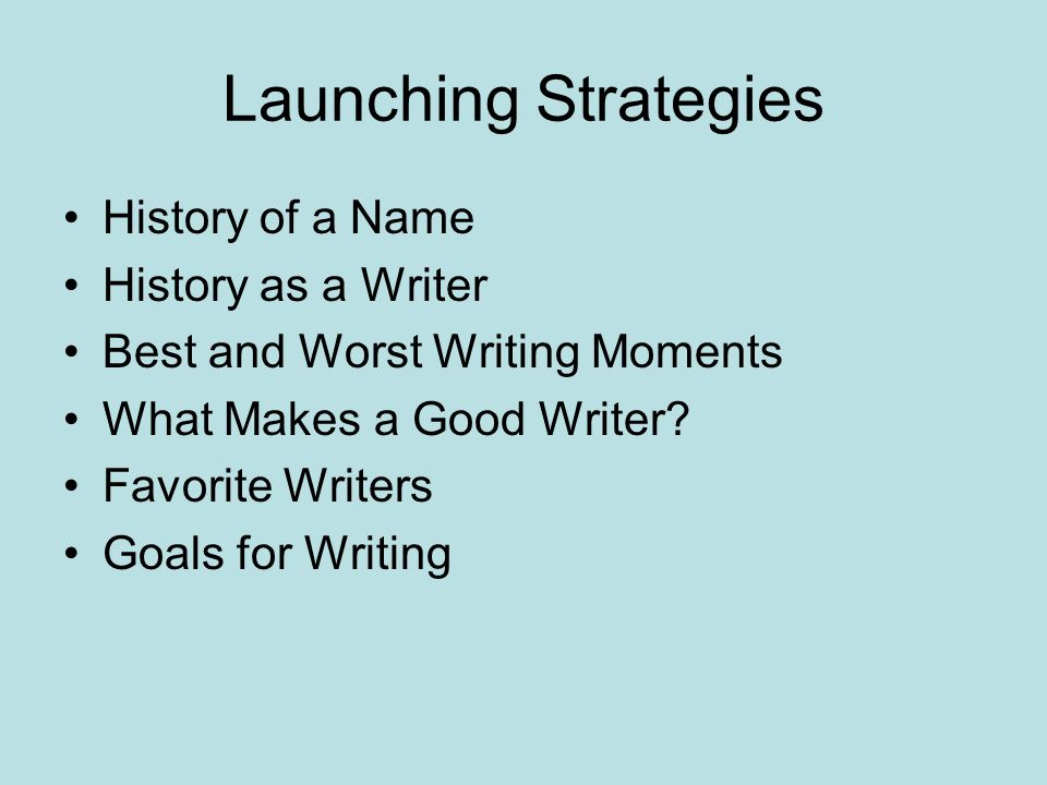 Launching Strategies History of a Name History as a Writer