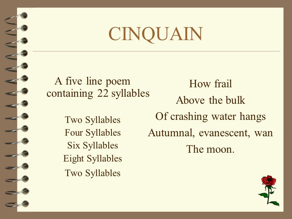 CINQUAIN A five line poem containing 22 syllables How frail