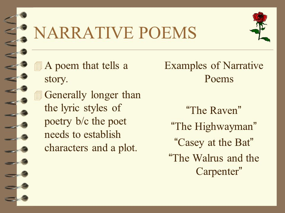 NARRATIVE POEMS A poem that tells a story.