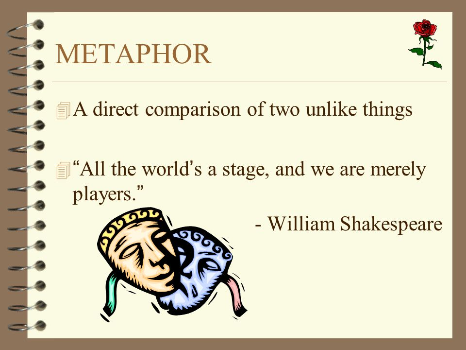 METAPHOR A direct comparison of two unlike things