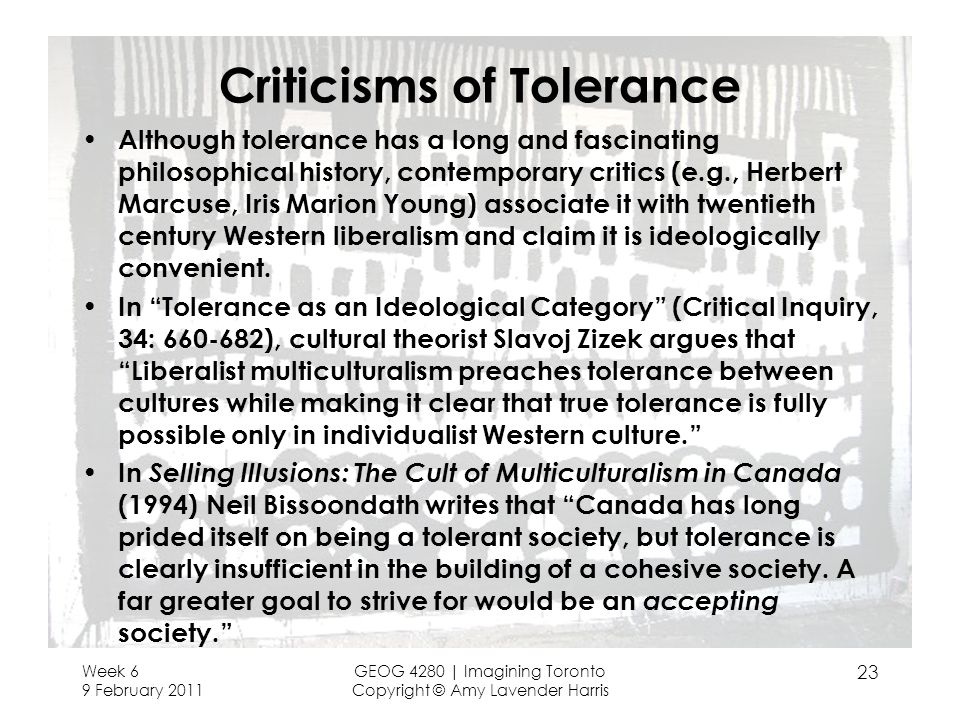 Criticisms of Tolerance