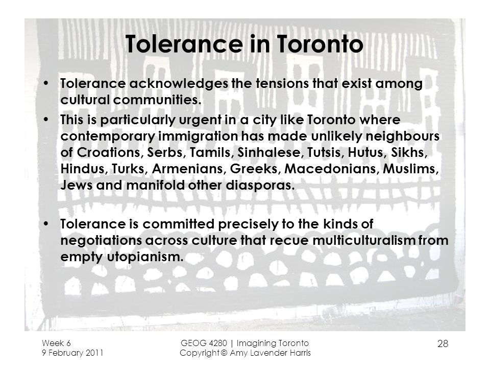 Tolerance in Toronto Tolerance acknowledges the tensions that exist among cultural communities.