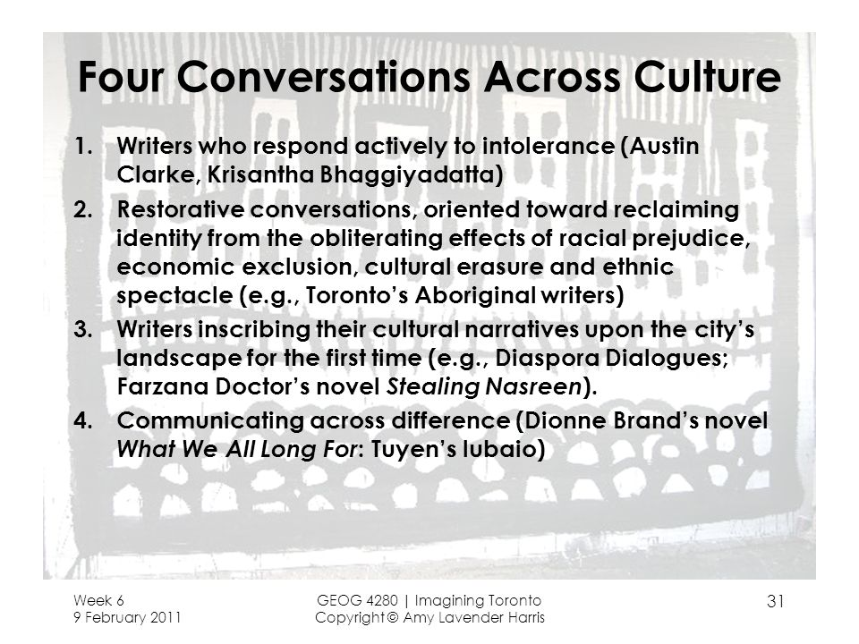 Four Conversations Across Culture