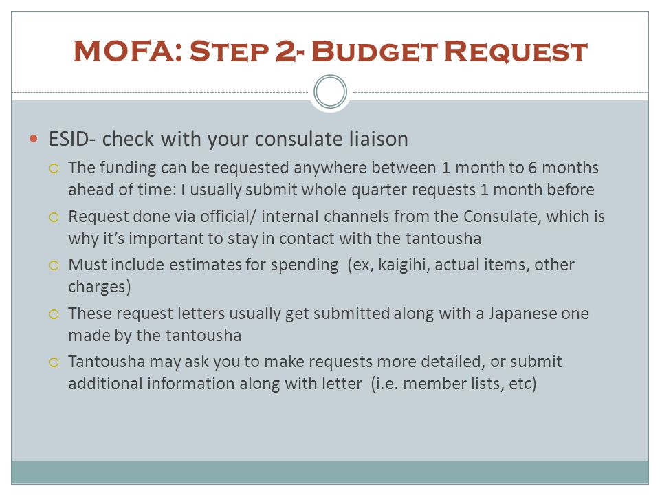 MOFA: Step 2- Budget Request